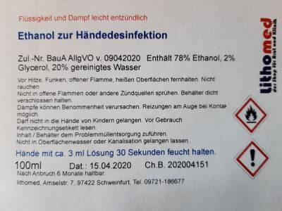 Haut und Händedesinfektion auf Ethanolbasis, Taschenflasche, 100ml