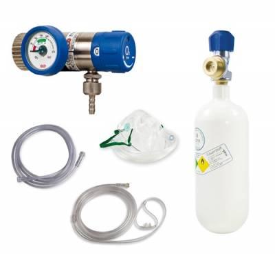 Sauerstoff-Komplett-Set - Druckminderer und Flasche 0,8 Liter